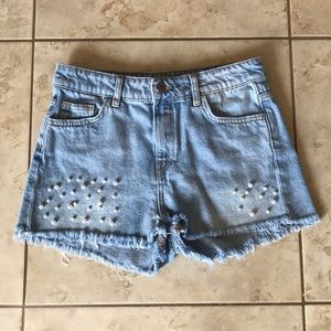 Zara Pearl Embroidered High Waisted Jean Shorts